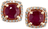 Effy Rosa by Ruby (1-1/8 ct. t.w.) and Diamond (1/8 ct. t.w.) Halo Stud Earrings in 14k Rose Gold