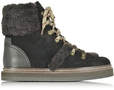 See by Chloe Dark Brown and Black Suede Boot w/Shearling Detail