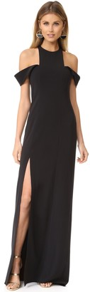 Halston Women's Sleeveless Cold Shoulder Round Neck Crepe Gown