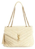 Saint Laurent Medium Monogram Straw Shoulder Bag - White