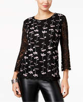 Style&Co. Style & Co Embroidered Lace Top, Created for Macy's