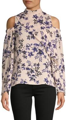 Parker Floral-Print Cold-Shoulder Mockneck Top