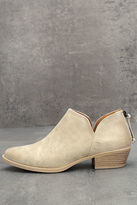 Qupid Stands Apart Stone Grey Nubuck Ankle Booties