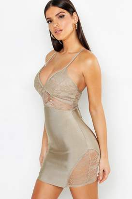 boohoo Lace Detail Strappy Contouring Bandage Bodycon Dress