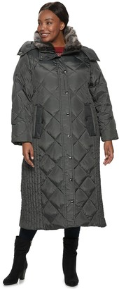 Plus Size TOWER by London Fog Hooded Quilted Puffer Maxi Coat