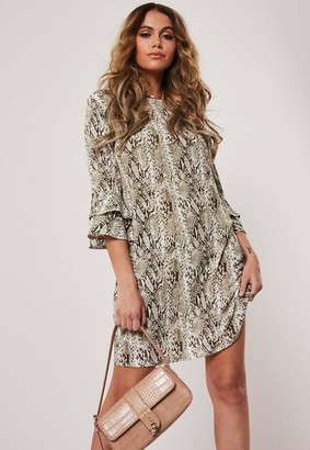 Missguided Stone Snakeskin Frill Sleeve Shift Dress