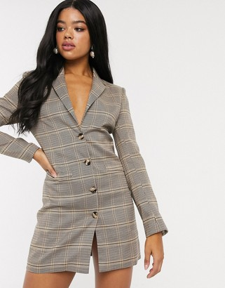 In The Style x Fashion Influx blazer dress in check print two-piece