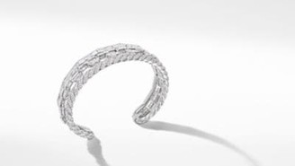 David Yurman Stax Cuff Bracelet In White Gold With Diamonds