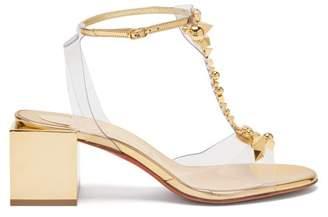 Christian Louboutin Salon De Mars Studded T-bar Sandals - Womens - Gold