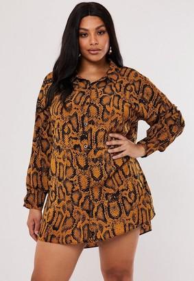 Missguided Size Mustard Animal Print Oversized Dip Back Shirt Dress