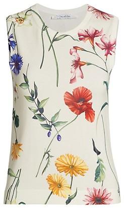 Oscar de la Renta Floral Sleeveless Crewneck Knit Tank Top