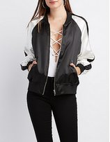 Charlotte Russe Satin Colorblock Bomber Jacket