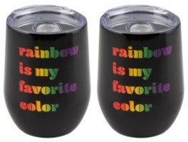 "Thirstystone Double Wall 2 Pack of 12 oz Black Wine Tumblers with Metallic ""Rainbow is My Favorite Color"" Decal"