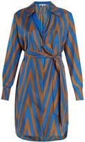 Diane von Furstenberg Odeon Chevron-print silk satin-twill shirtdress