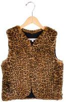 Bonpoint Girls' Fur Leopard Print Vest
