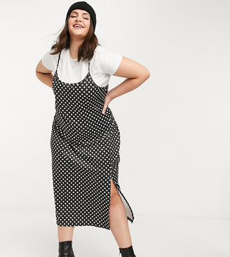 Wednesday's Girl Curve midi cami dress with t-shirt inner layer in polka dot