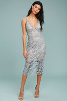 Dress the Population Marie Slate Blue Lace Midi Dress