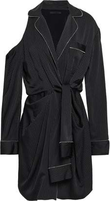 Alexander Wang Cold-shoulder Pinstriped Twill Wrap Dress
