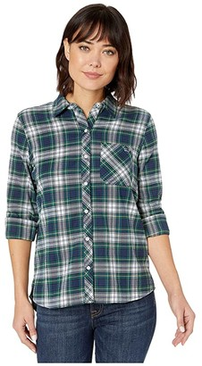 Vineyard Vines Flannel Relaxed Button-Down (Jet Black) Women's Clothing