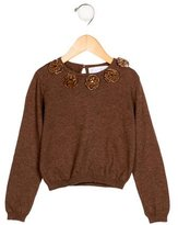 Rachel Riley Girls' Velvet-Embellished Knit Sweater