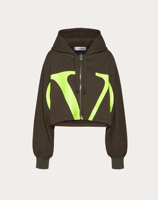 Valentino Vlogo Jersey Sweatshirt Women Olive Elastane 100% M