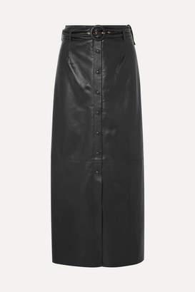 Nanushka Ayona Belted Vegan Leather Maxi Skirt - Black