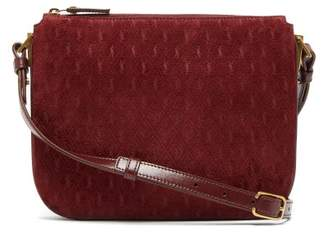 Saint Laurent Monogram Suede And Leather Cross-body Bag - Womens - Burgundy