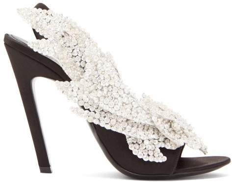 Balenciaga Talon Slash Slingback Sandals - Womens - Black