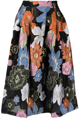 Stine Goya Thea botanical print midi skirt