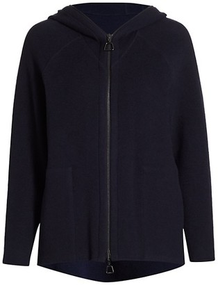 Akris Two-Tone Cashmere-Blend Jersey Zip-Front Hoodie