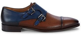 Mezlan Saber Perforated Leather Monk-Strap Shoes