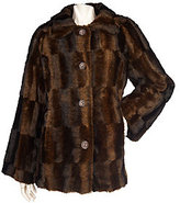 As Is Dennis Basso Faux Fur A-Line Coat with Brushed Pattern