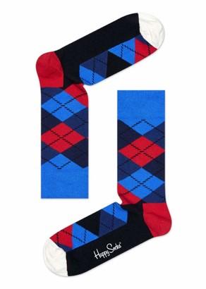 Happy Socks Colourful Classic Print Cotton Socks for Men and Women Black Argyle (36-40)