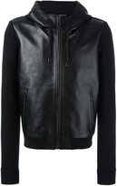 Dolce & Gabbana jersey sleeve leather jacket