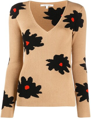 Chinti and Parker floral print V-neck jumper