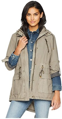 Levi's Fashion Light Weight Parka w/ Roll Up Sleeve (Light Green) Women's Coat