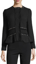 Rebecca Taylor Textured Tweed Embellished Peplum Jacket