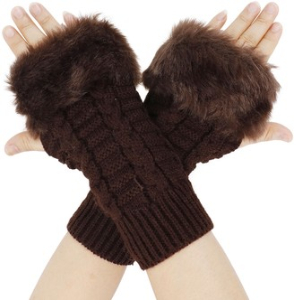 JIAHAO Women's Winter Faux Fur Knit Fingerless Hand Warmer Mitten Gloves Grey