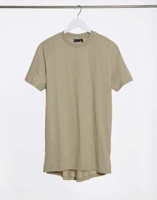 ASOS DESIGN longline t-shirt with side slits in khaki