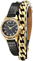 Vince Camuto Women's VC/5220GPBK Black Leather Double Wrap Watch