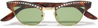 Gucci Pixie Cat-eye Embellished Gold-tone And Tortoiseshell Acetate Sunglasses