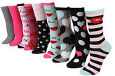 Betsey Johnson 9-Piece Solid & Printed Mid-Calf Socks