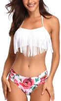 Coeur De Vague Coeur de Vague Women's Bikini Bottoms White - White Tassel Halter Bikini Top & Floral Bottoms - Women