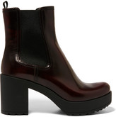 Prada Glossed-leather Platform Chelsea Boots - Burgundy
