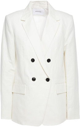 Frame Double-breasted Linen And Cotton-blend Twill Blazer