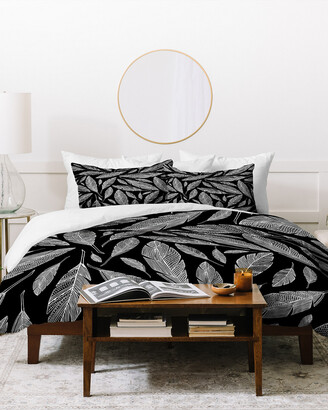 Deny Designs Heather Dutton Float Like A Feather Black Duvet Cover Set