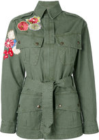 Saint Laurent flower embroidered military parka jacket - women - Cotton - M