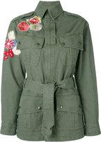 Saint Laurent flower embroidered military parka jacket