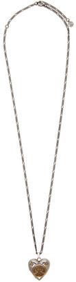 Alexander McQueen Silver Long Heart Necklace
