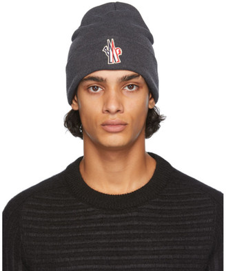 MONCLER GRENOBLE Grey Wool Logo Beanie